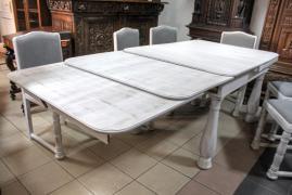 ROZKŁADANY STÓŁ (ponad 350 cm) + 6 KRZESEŁ / po renowacji / - zdjęcie 6