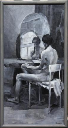 OBRAZ A. ROZMUS - KOBIETA PRZED LUSTREM