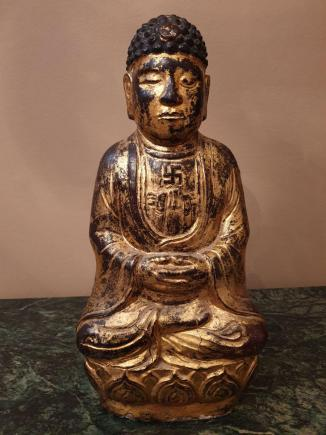 BUDDA NA KWIECIE LOTOSU – ORIENT – RZEŹBA W KAMIENIU – XIX wiek