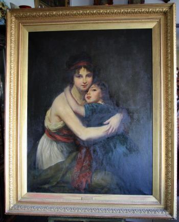 MADAM LE BRUN Z CÓRKĄ - OBRAZ OLEJ XIX W