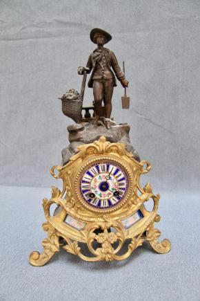 ZEGAR KOMINKOWY Z II POŁ. XIX W - Japy Freres & Cie - Med. D'Honneur.
