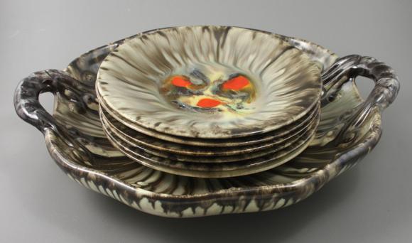 PATERA + 6 TALERZY / ceramika /